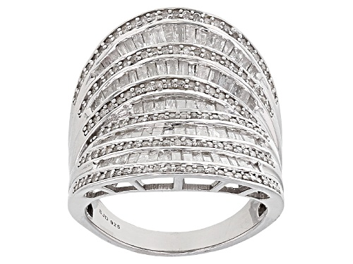 Photo of 1.75ctw Round And Baguette White Diamond Rhodium Over Sterling Silver Ring - Size 5