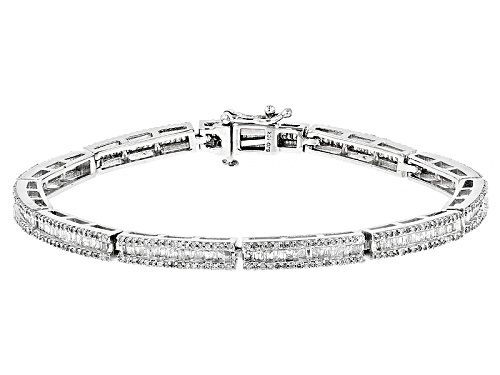 Photo of 2.85ctw Round And Baguette White Diamond 10k White Gold Bracelet - Size 7.5