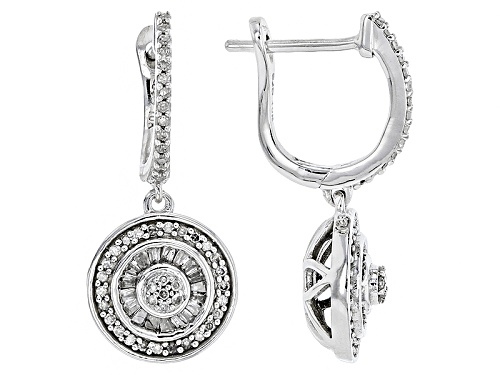 Photo of .45ctw Round And Baguette White Diamond 10k White Gold Earrings