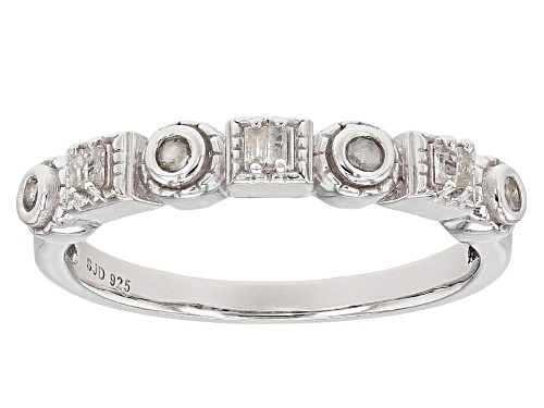 Photo of .15ctw Round And Baguette White Diamond Rhodium Over Sterling Silver Ring - Size 6