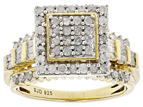 Photo of Engild™1.05ctw Round And Baguette White Diamond 14k Yellow Gold Over Sterling Silver Ring - Size 6