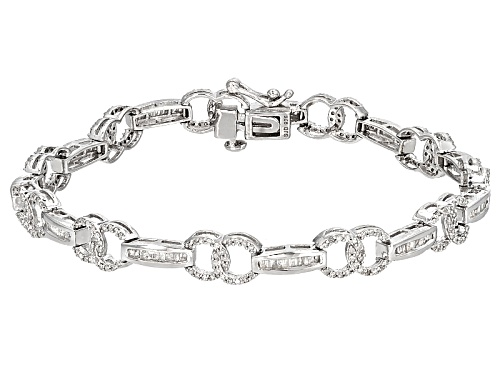 Photo of 1.75ctw Round And Baguette White Diamond Rhodium Over Sterling Silver Bracelet - Size 7.5