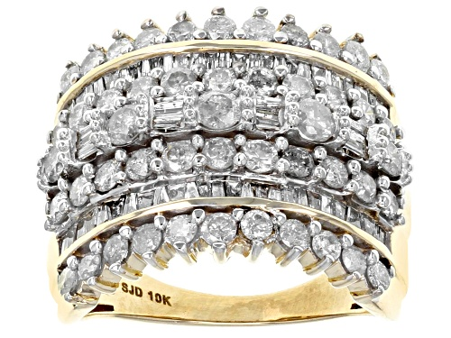 Photo of 2.30ctw Round And Baguette White Diamond 10k Yellow Gold Ring - Size 7