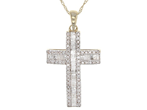 Photo of .55ctw Round And Baguette White Diamond 10k Yellow Gold Pendant With An 18inch Rope Chain