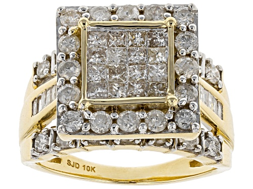 Photo of 1.90ctw Round, Princess Cut And Baguette White Diamond 10k Yellow Gold Ring - Size 10