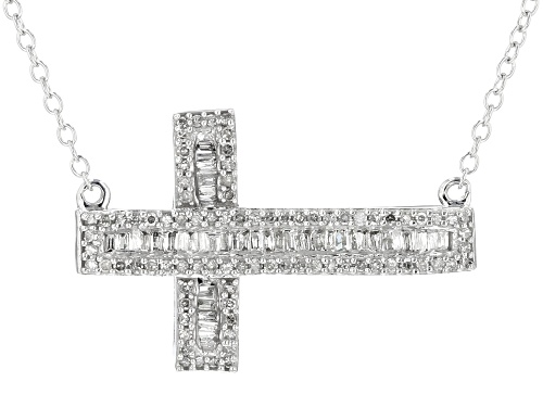 Photo of .45ctw Round And Baguette White Diamond 10k White Gold Necklace - Size 18.5