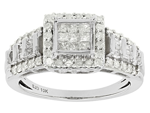 Photo of .70ctw Round, Baguette and Princess Cut White Diamond 10k Yellow Gold Ring - Size 6