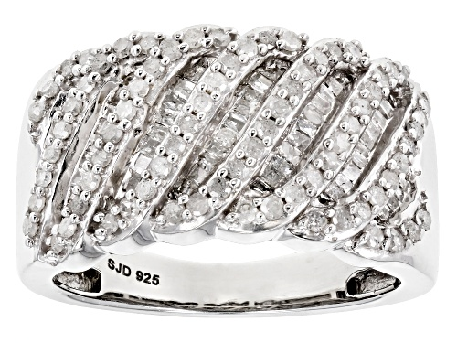 Photo of .95ctw Round and Baguette White Diamond Rhodium over Sterling Silver Ring - Size 7