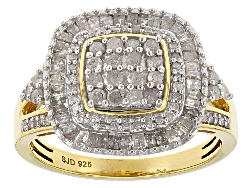 Photo of ENGILD(TM) 1.00ctw Round and Baguette White Diamond 14k Yellow Gold over Sterling Silver Ring - Size 7