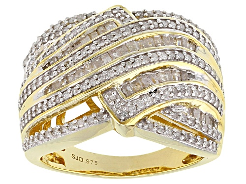 Photo of ENGILD(TM) 1.10ctw Round and Baguette White Diamond 14k Yellow Gold over Sterling Silver Ring - Size 5