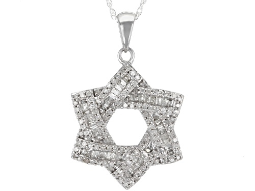 Photo of .75ctw Round and Baguette White Diamond Rhodium over Sterling Silver Pendant with 18inch Rope Chain