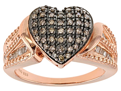 Photo of Engild™ .55ctw White and Champagne Diamond 14k Rose Gold Over Sterling Silver Ring - Size 7