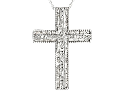Photo of .70ctw Round and Baguette White Diamond Rhodium over Sterling Silver Pendant with Chain