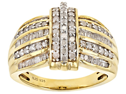 Photo of Engild™ 1.00ctw Round and Baguette White Diamond 14k Yellow Gold Over Sterling Silver Ring - Size 5