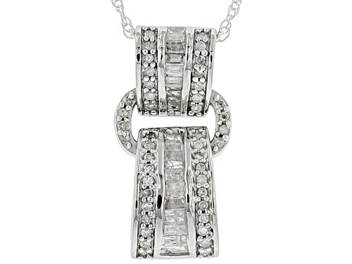 0.40ctw Baguette and Round White Diamond Rhodium Over S/S Pendant With Chain