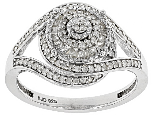 Photo of 0.45ctw Round and Baguette White Diamond Rhodium Over S/S Ring - Size 5