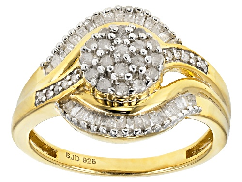 Photo of Engild™ 0.55ctw Baguette and Round White Diamond 14k Yellow Gold Over Sterling Silver Ring - Size 6