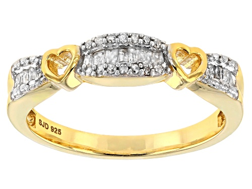 Photo of Engild™ .20ctw Round and Baguette White Diamond 14k YG over Sterling Silver Ring - Size 7
