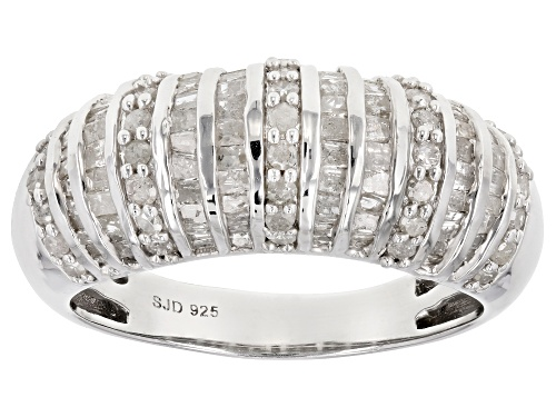 Photo of 1.25ctw Round and Baguette White Diamond Rhodium over Sterling Silver Ring - Size 6