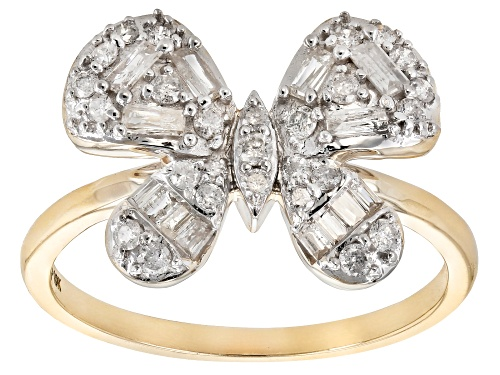 Photo of 0.55ctw Round And Baguette White Diamond 10k Yellow Gold Butterfly Cluster Ring - Size 8