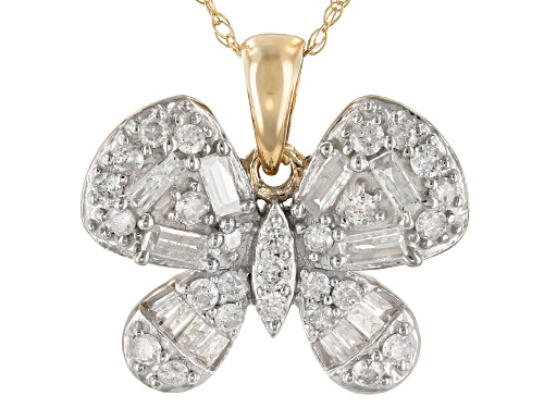 Photo of 0.50ctw Round And Baguette White Diamond 10k Yellow Gold Pendant With 18inch Chain