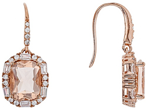 Photo of S/S 18k Ovr S/S     3.28ct Cu Morganite Glass /1.35ctw Rd   Wht Cz Ers