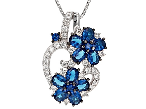 Blue Lab Spinel Silver Pendant With Chain 2.01ctw