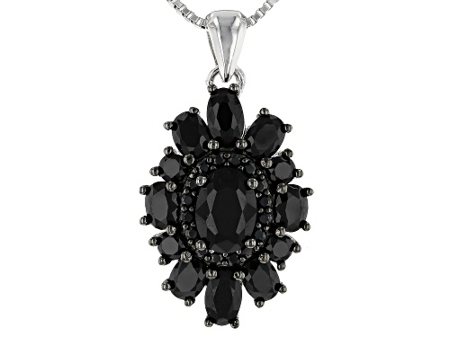 Photo of Black Spinel Silver Pendant With Chain 2.30ctw