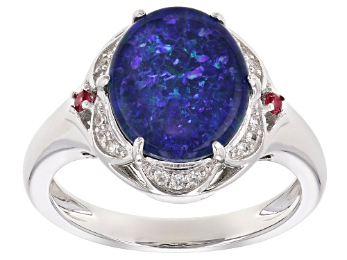 Multicolor Opal Triplet Sterling Silver Ring .13ctw - Size 8