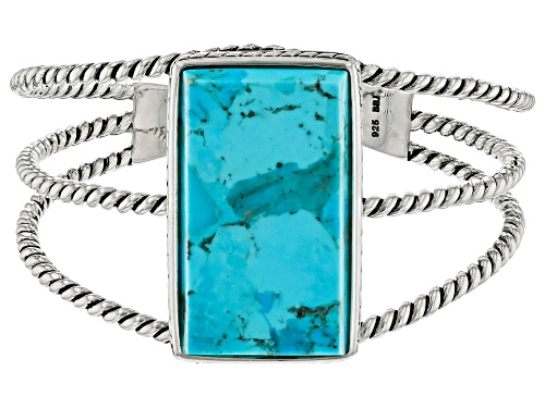 Photo of Rectangle Cabochon Turquoise Sterling Silver Cuff Bracelet - Size 8