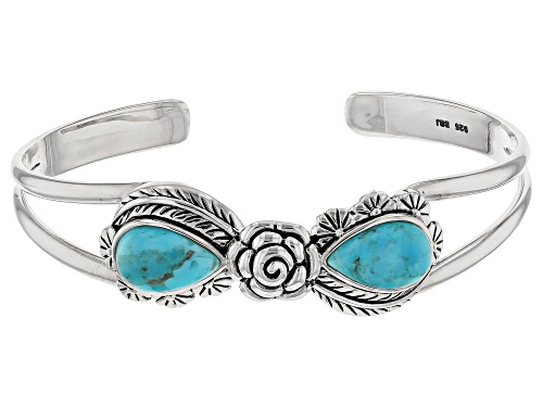 Photo of Pear Shape Cabochon Blue Turquoise Sterling Silver Cuff Bracelet - Size 8