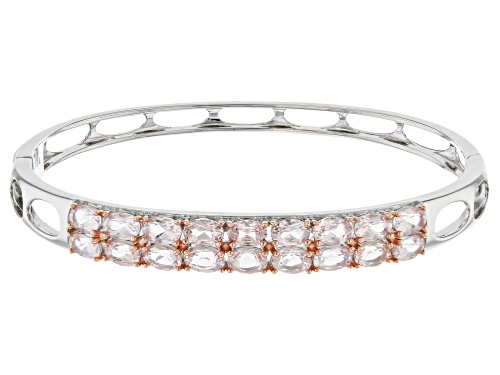 7.33CTW OVAL MORGANITE STERLING SILVER BANGLE BRACELET - Size 8