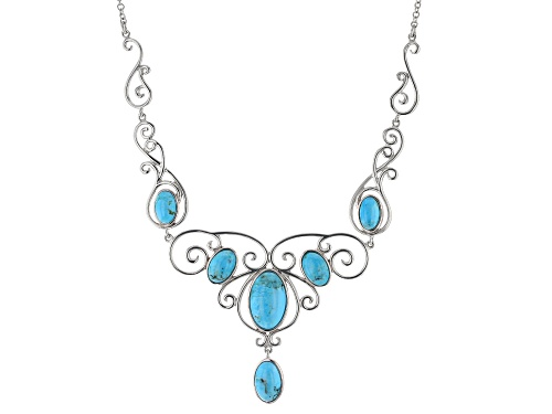 Photo of Blue Turquoise Sterling Silver Necklace - Size 18