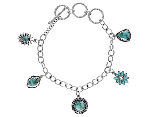 Photo of Turquoise Rhodium Over Silver Charm Bracelet - Size 8