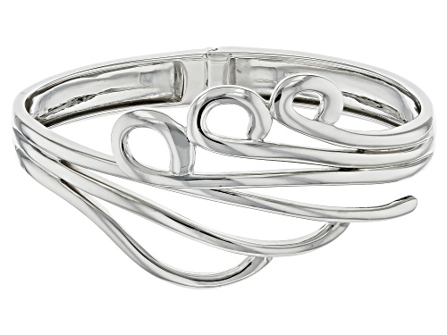 Photo of Rhodium Over Sterling Silver Hinged Cuff Bracelet - Size 8