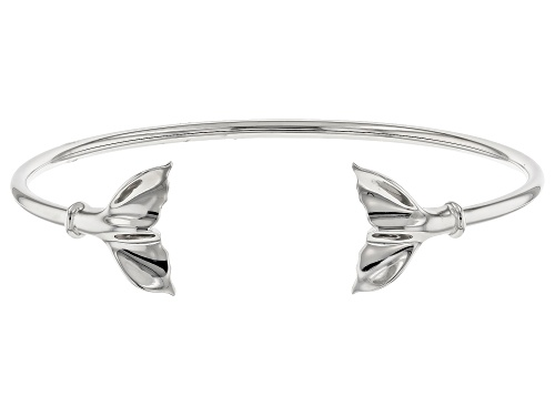 Rhodium Over Sterling Silver Whale Tail Bangle Bracelet - Size 8