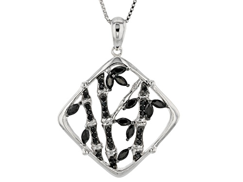 Photo of Black Spinel Sterling Silver Pendant With Chain .96ctw