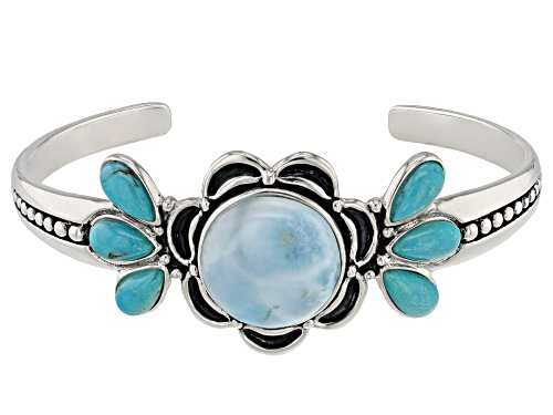 Photo of 20mm Round Cabochon Larimar With 11x6mm Pear Shape Turquoise Sterling Silver Cuff Bracelet - Size 8