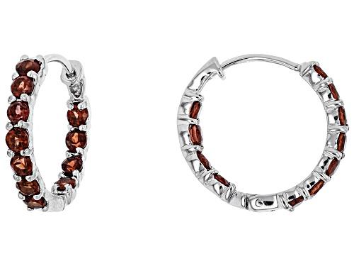 Red Garnet Sterling Silver Earrings 1.74ctw
