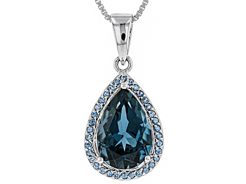 Photo of 2.85CT PEAR SHAPE LONDON BLUE TOPAZ, .20CTW ROUND LAB CREATED BLUE SPINEL SILVER PENDANT WITH CHAIN