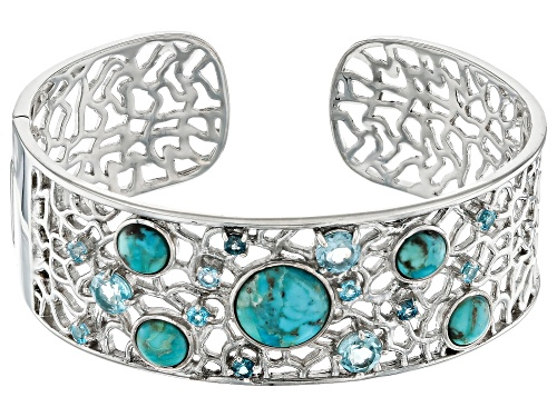 Photo of Round Turquoise With 3.95ctw Swiss Blue, London Blue And Sky Blue Topaz Rhodium Over Silver Bracelet - Size 8