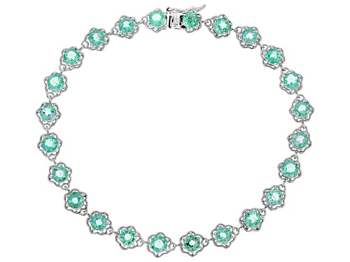 Photo of 4.48ctw Round Ethiopian Emerald Rhodium Over 10k White Gold Bracelet - Size 7.5