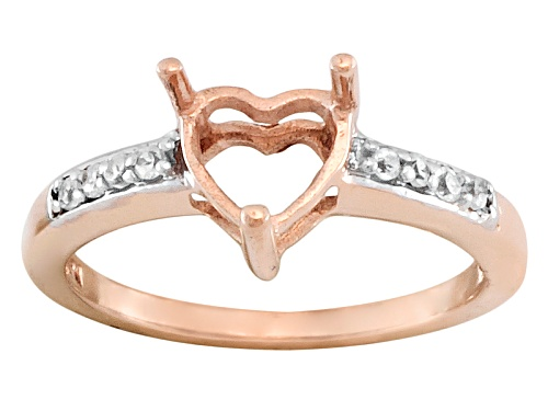 Photo of 10kt Rose Gold 6mm Heart Shape Semi Mount With Round White Zircon Accents