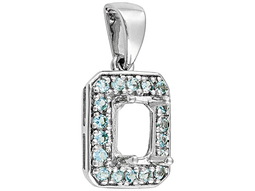 Photo of 10k W/G 7x5mm Octagonal Semi Mount Pendant W/.18ctw Round Swiss Blue Top Accents