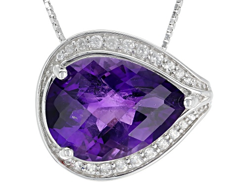 Photo of 9.77CT PEAR SHAPE AFRICAN AMETHYST & .37CTW WHITE ZIRCON RHODIUM OVER SILVER SLIDE WITH CHAIN