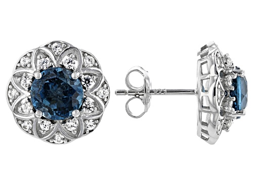 Photo of 2.79ctw Round London Blue Topaz With .54ctw Round White Zircon Rhodium Over Silver Earrings