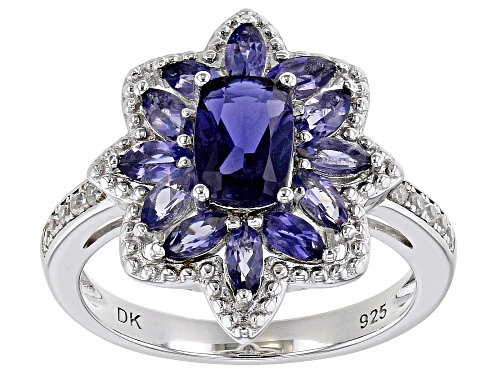 1.39ctw Rectangular Cushion & Marquise Iolite With .14ctw White Zircon Rhodium Over Silver Ring - Size 7