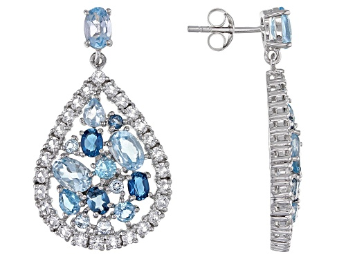 Photo of 5.76ctw mixed blue and 2.70ctw round white topaz rhodium over silver teardrop dangle earrings