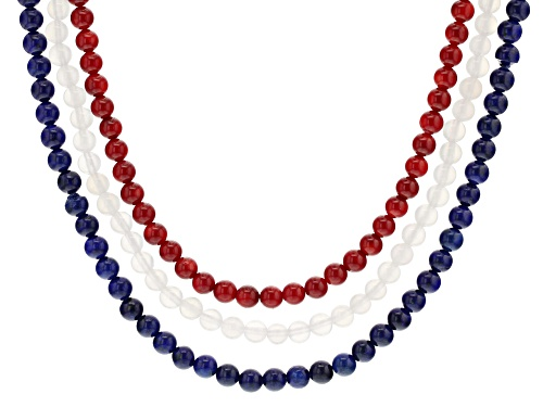 Photo of 6mm red coral, 6mm white agate & 6mm blue lapis lazuli beads, triple strand sterling silver necklace - Size 18