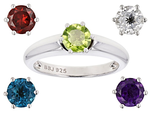 Photo of 3.87ctw Round Multi-Gemstone Rhodium Over Sterling Silver Interchangeable Solitaire Ring - Size 7